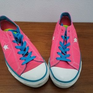 Hot Neon Pink One Star Converse Sneakers 8.5